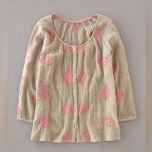 Boden Button-Down Embroidered Peasant Boho Blouse